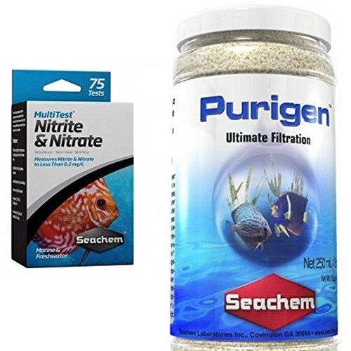 Seachem Nitrit und Nitrat Multi Test mit Seachem Purigen Verpackung 250g