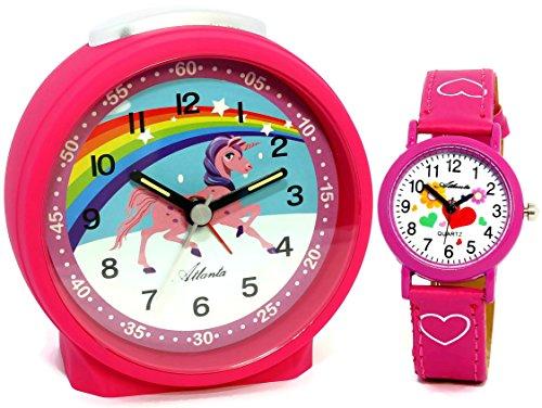 Despertador infantil Atlanta, unicornio, rosa, con reloj de pulsera–1981–17KAU