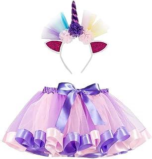 925e8cfe41210 Fesky Jupe Tutu Ballet Danse Tulle Costume Fête Classique Arc en Ciel  Bandeau Licorne Fille Enfant