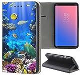 Handyhülle für Samsung Galaxy A3 2016 Premium Smart Einseitig Flipcover Flip Case Hülle Samsung A3 2016 Motiv (1520 Fische Meer Bunt Riff)