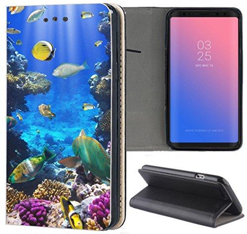 Handyhülle für Samsung Galaxy A5 2016 Premium Smart Einseitig Flipcover Flip Hülle Hülle Samsung A5 2016 A510 Motiv (1520 Fische Meer Bunt Riff)