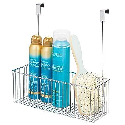 mDesign Metal Over Cabinet Bathroom Storage Organizer Holder or Basket - Hang Over Cabinet Doors - Holds Shampoo, Conditioner, Body Wash - Strong Steel Wire