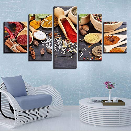 Pmhhc Poster Modulaire Canvas Afbeeldingen Hd Prints 5 stuks plakkerige rijst peper lepel schilderij muurkunst moderne decoratie woonkamer 30x40cmx2 30x60cmx2 30x80cm Zonder lijst