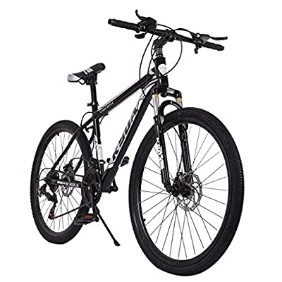 Qianglin 26'' 21-Speed Mountain Bike,Fashion Full Suspension Mountain Bicycle,Mens/Womens Hybrid Road Bike Outdoor Bicycle,Fit for Adult/Youth Student Urban Commuters Riding