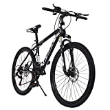 Qianglin 26'' 21-Speed Mountain Bike,Fashion Full Suspension Mountain ​​Bicycle,Mens/Womens Hybrid Road Bike Outdoor Bicycle,Fit for Adult/Youth Student Urban Commuters Riding