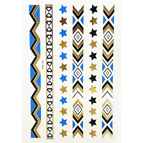 xxl-cosmetic Temporary Body Tattoo Gold Silber Blau Metallic WS-30