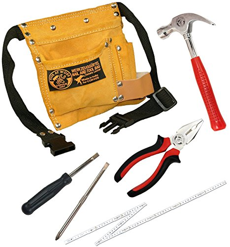 Corvus Kinder-Werkzeug-Set mit Werkzeug-Gürtel, Zimmermanns-Hammer, Schraubenzieher, Kombizange und...
