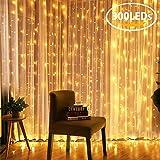 3 x 3m Cortina de luces, AGM 300 Bombillas LED luces de Navidad Exterior Blanco Cálido Impermeable, Conexión USB para Decoración Fiesta, Bodas
