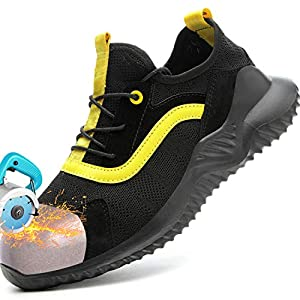 YiMeng Womens Safety Steel Toe Work Shoes Lightweight Indestructible Anti-Slip Sneakers