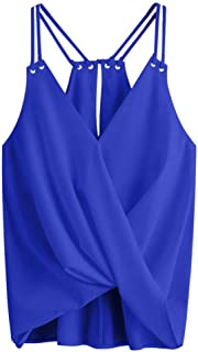 Tank Tops for Women Summer V Neck Gibobby Solid Vest Casual Tank Tops Sleeveless Shirt Strappy Blouse Sexy Tops