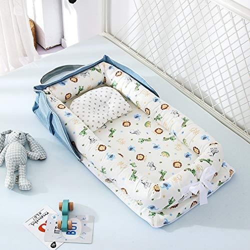 Baby Nest Bed Wieg Draagbaar en Wasbaar Reisbed met Kussen Jongens Meisjes Baby Katoenen Wiegbumper,B22