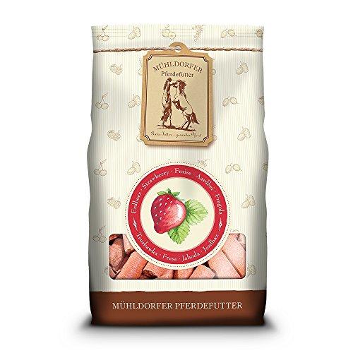 Mühldorfer Erdbeer Leckerli, 1 kg, Leckerlis für Pferde, Belohnungsfutter mit Erdbeergeschmack, bröckeln, schmieren und kleben nicht
