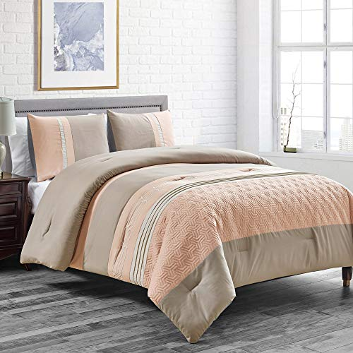 WPM WORLD PRODUCTS MART Peach/Taupe Down Alternative Comforter Set Queen Size Bedding Includes Comforter and Pillow Shams for Bedroom Dorm Room- LOLA (Peach/Taupe, Queen)