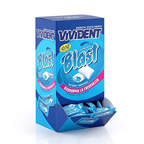Vivident Fresh Blast Gomme da Masticare Senza Zucchero, Chewing Gum Gusto Menta, Confezione da 200 Gomme