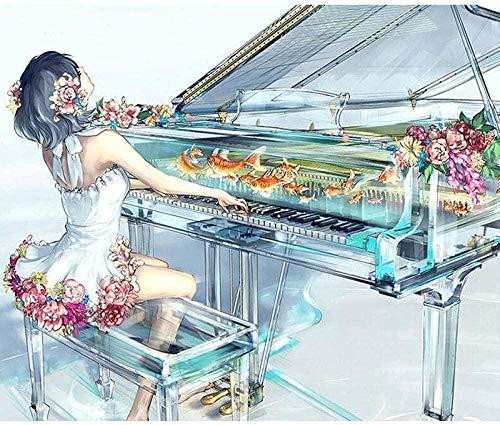 LSDEERE Malen nach Zahlen Kits Spielen Piano Girl DIY Ölgemälde Digitale Leinwand Wandkunst Dekoration-16 * 20 Zoll Rahmenlose-HML51
