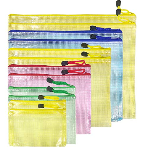 Dokumententasche, 12 Stück, Dokumententasche a4 a5 a6 b4 b5 b6 Größe, Reißverschlusstasche, Kunststoff Brieftasche, Datei Taschen für Datei Papier, Dokumente und Kosmetika (12)