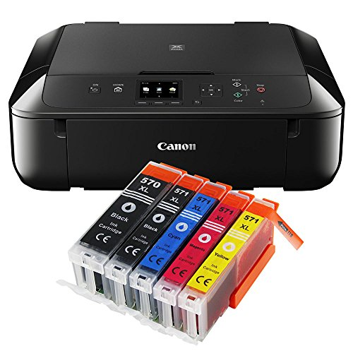 Canon Pixma MG5750 MG-5750 All-in-One Farbtintenstrahl-Multifunktionsgerät (Drucker, Scanner, Kopierer, USB, WLAN, Apple AirPrint) schwarz + 5er Set IC-Office XL Tintenpatronen 570XL 571XL