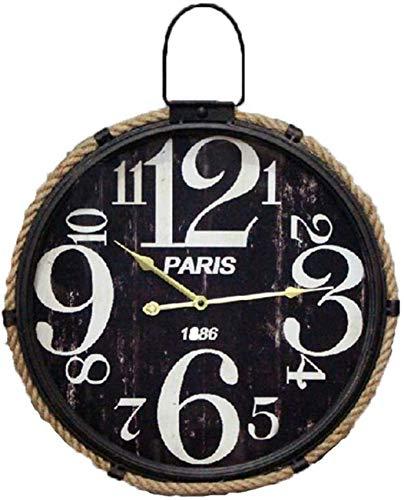 GANG Hierro Fundido con Gancho Redondo Reloj Retro Reloj Americano Estilo Industrial Cuarzo Cuarto Metal Reloj Reloj Mojado Sala de Estar Decoraciones de Pared Modelo Nórdico Modelo Suave Tra