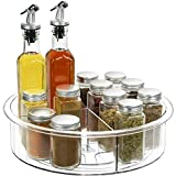 Lazy Susan - 12 inch Round Clear Spinning Organization & Storage Container Bin Turntable Plastic Condiment Spice Rack with Dividers for Cabinet Pantry Kitchen Fridge Vanity Bathroom Countertop Makeup