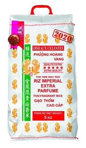 Riz Thai impérial extra parfumé qualité premium - Marque Oiseaux Célestes - Récolte Année 2020 (Sacs de 5KG, 10KG ou 20KG) (5KG)