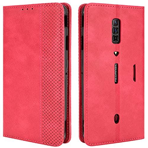 HualuBro Handyhülle für ZTE Nubia Red Magic 6 Hülle Leder, Magnetisch Stoßfest Schutzhülle Klapphülle Handytasche Flip Hülle Cover für ZTE Nubia Red Magic 6 Pro Tasche, Rot