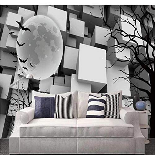 Guyuell Personality Mural 3D White Black Cube Wallpaper for Walls 3D Tree Branches Silhouette Wall Covering Living Room Home Decor Theme-300X210Cm