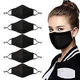 Lot de 5 masques en tissu de coton avec 10 filtres à charbon actif pour homme et femme - Unisexe - Réutilisables - Lavable et réglable - Pour adulte