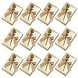 Scatole regalo per feste di Natale, 12 pezzi Scatole di carta per caramelle Scatole per bomboniere Scatole per cioccolatini con nastro e bacche Scatole per gioielli di nozze di Natale Gold Ribbon