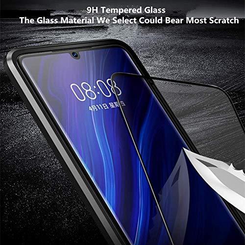 Yichxu Huawei P30 Pro Hülle Magnet, Magnetische Adsorption Handyhülle für Huawei P30 Pro, Einteiliges 360 Grad Gehärtetes Glas Schutzhülle Panzerglasfolie Durchsichtige Case Cover, Blau - 6
