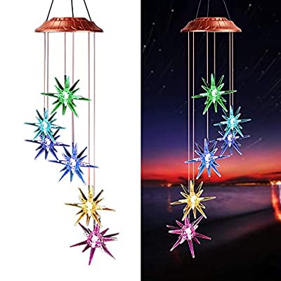 Afirst Solar Wind Chimes 26.8 inches Solar Color Changing LED Lights Wind Mobile for Outdoor Indoor (Sea Urchin)