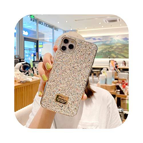 Funda para iPhone 11 11 Pro Max XR XS MAX X 7 8 Plus SE 2020 Glitter galvanizado Rhinestones suave IMD cubierta-plata para iPhone 7