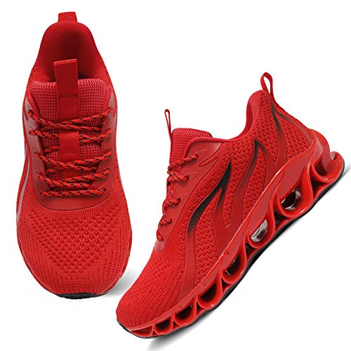 APRILSPRING Fashion Casual Shoes for Womens Walking Athletic Slip Golf Basketball Red Black,US 10.5