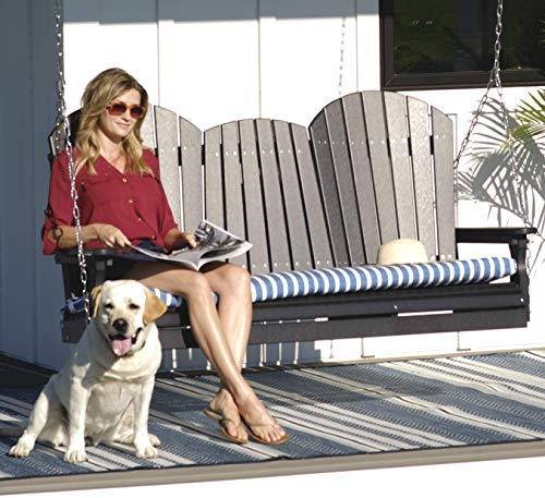 LuxCraft Adirondack 5ft. Recycled Plastic Porch Swing with Flip Down Center Console - Lead Time 4 Weeks