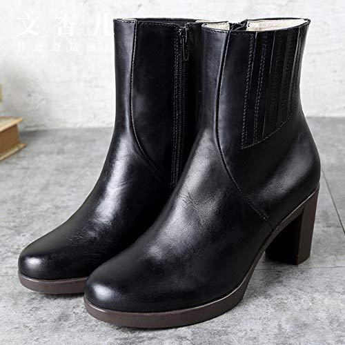 LXYYBFBD Dameslaarzen, dikke slang, hoge hakken, zwart winter, warm, hoge laarzen voor dames