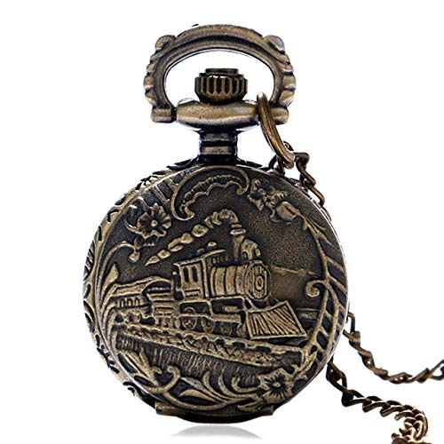 Water cup Vintage Pocket Watch Pocket Watch Vintage Hollow Bronze Locomotive Design Quartz Pocket Watch with Necklace Chain Gift To Men Women