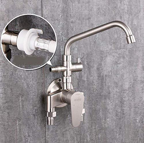 Grifo de fregadero de cocina montado en la pared 304 grifo de acero inoxidable expuesto manguera instalar doble soporte doble agujero cubierta montado frío y caliente grifo B-B