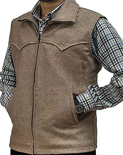 HiFacon Chaleco de algodón ligero para hombre, color marrón - marrón - Small