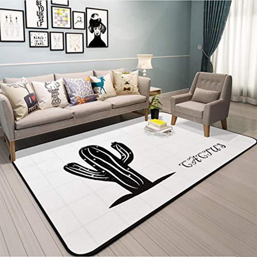 Golden_flower Einfache Graue Kaktus-Serie Wohnzimmer Couchtisch Schlafzimmer Teppich Voller Bettdecke Bodenmatte Teppich, Karierter Kaktus auf Weiß,