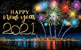 Happy 2021 New Years Eve Party Decorations,Large Fabric Fireworks Printed Happy New Year 2021 Sign Banner Photo Booth Backdrop Background with Rope for Winter Christmas Happy New Year Party Favor