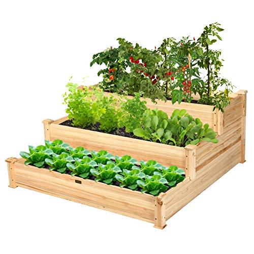 Giantex 3 Tier Raised Garden Bed Wood Elevated Planter Box Vegetable Flower...