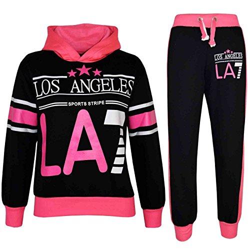 A2Z 4 Kids Bambini Ragazze Tuta Los Angeles LA7 Stampare - T.S LA7 Black & Neon Pink 13