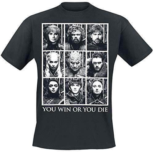 Game Of Thrones Juego de Tronos You Win Or You Die Hombre Camiseta Negro XXL, 100% algodón, Regular