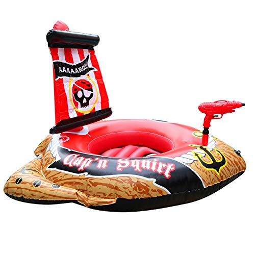 QUUY Aufblasbarer Piratenschiff-Pool mit Spray Sprinking Toy, schwimmende Reihe Pirate Play Center Aufblasbarer Pool Summer Beach Wasserspielzeug für Kinder 127x124x72CM