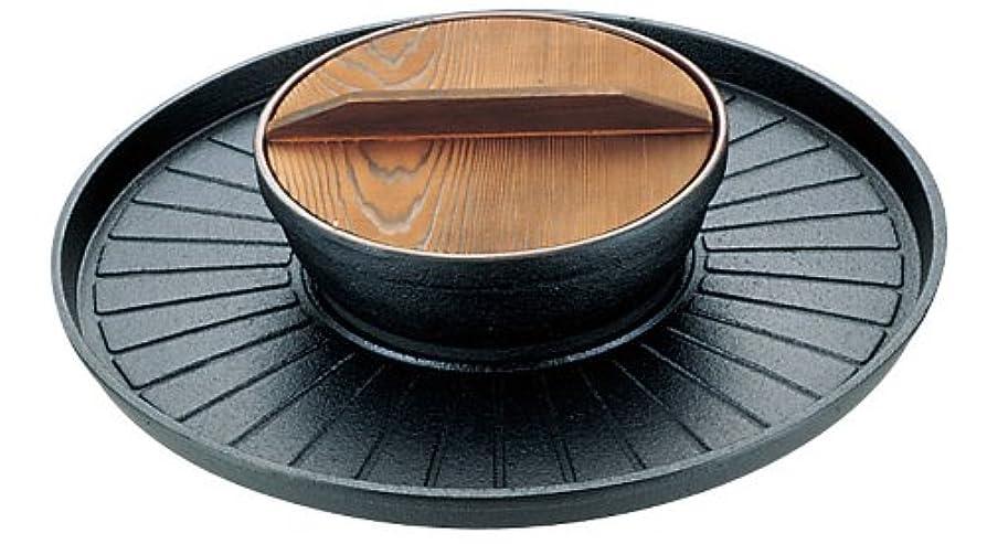 ポルトガル語ビヨン差別的三和精機製作所 焼きしゃぶ鍋 B-35 鉄鋳物 天然木 日本 QSY51
