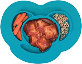 mDesign Silicone Mini Mealtime Plate and Placemat for Babies, Toddlers, Kids - BPA Free, Food Safe � Stays in Place � 3 Sections - Microwave and Dishwasher Safe, Fun Monkey Design, Teal Blue