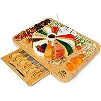 Royal Craft Wood Bamboo Cheese Board and Knife Set