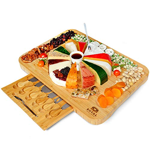 Bamboo Cheese Board and Knife Set - Wooden Charcuterie...