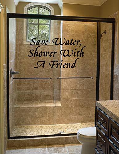 Sticker mural pour salle de bain Save Water Shower with a Friend