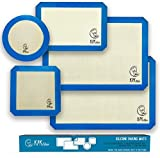 Silicone Baking Mats Set of 5-2 Half Sheets + 1 Quarter + 1 Round & 1 Square Silicone Mats for Baking - Nonstick Silicone Baking Sheet - Reusable Silicone Cookie Sheet & Silicone Baking Mats for Oven