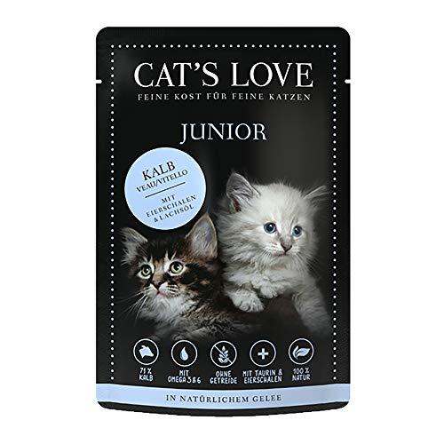 Cat´s Love Junior Katzenfutter Nassfutter Kalb Pur Ohne Getreide künstliche Farb- und Lockstoffe Zucker (Kalb, 12 x 85g)